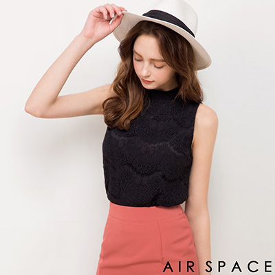 AIR-SPACE-高領削肩蕾絲花紋無袖上衣-黑