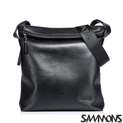 SAMMONS 真皮奧斯汀折蓋直式斜背包 爵士黑