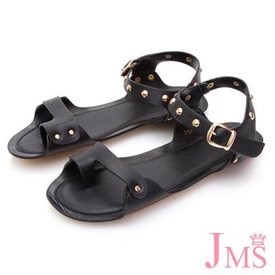 JMS-獨特質感鉚釘釦飾帶平底涼鞋-黑色