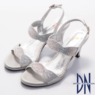 DN 璀璨亮麗 MIT金屬光感水鑽高跟涼鞋~銀