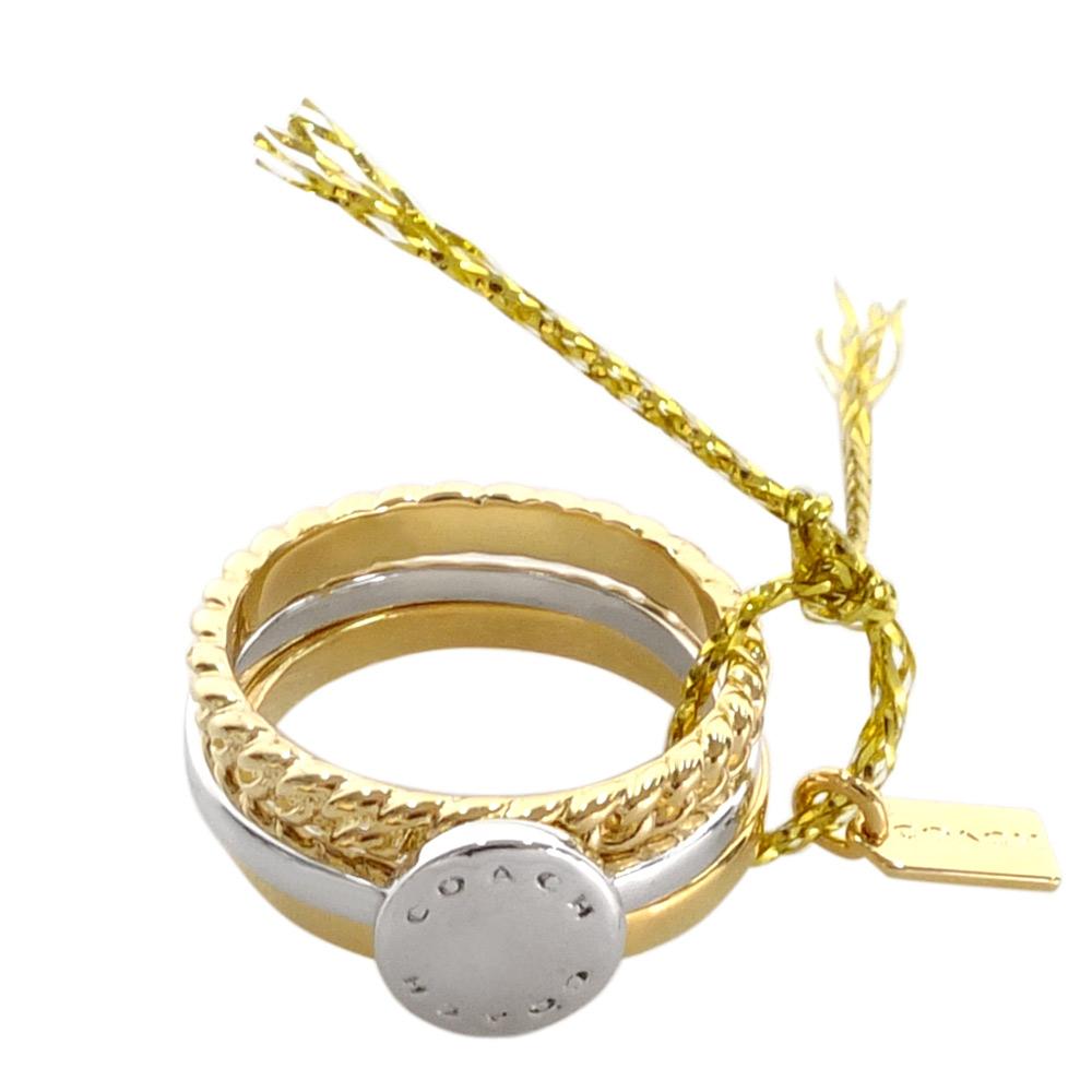 COACH 銀色圓牌刻字金色編織鍍金屬細版三環戒#6