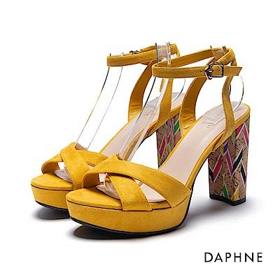 達芙妮DAPHNE 涼鞋-印花飾跟前高後高交叉粗高跟涼鞋-黃