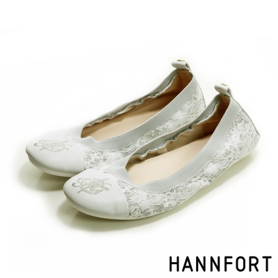HANNFORT FLEX360輕舞童話折疊芭蕾平底鞋-女-典雅白