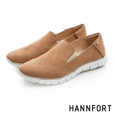 HANNFORT ZERO GRAVITY真皮套入式氣墊休閒鞋-女-自在棕