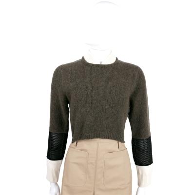 FEDNI 撞色羊毛拼接短版上衣(綠x米x黑)