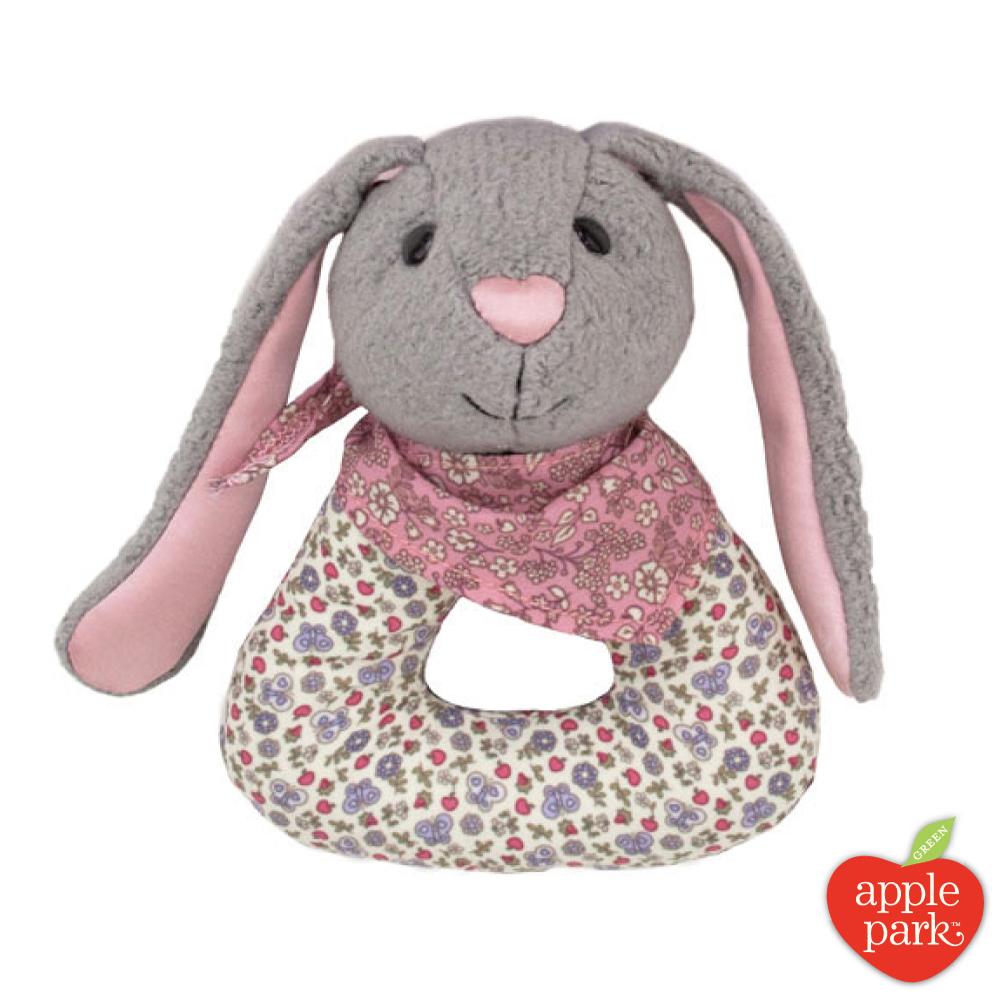 美國 Apple Park 有機棉手搖鈴啃咬玩具禮盒 - 花瓣長耳兔