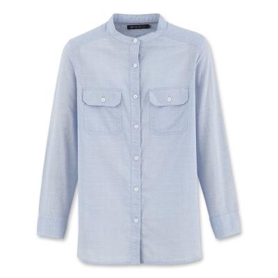 Hang Ten - 女裝 - 都會時尚小立領長袖襯衫-藍