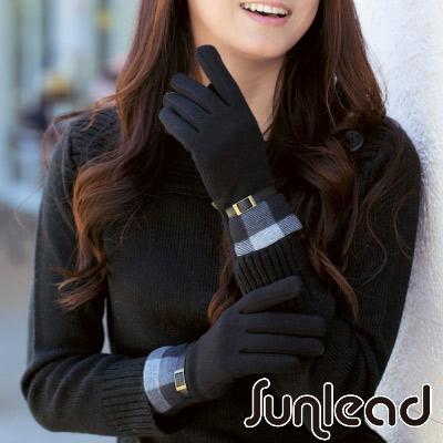 Sunlead-螢幕觸控保暖防風格紋防寒刷毛手套