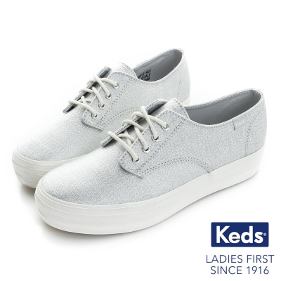 Keds 閃耀之星厚底綁帶休閒鞋-銀色