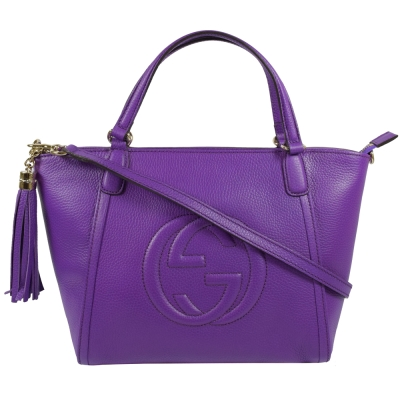 GUCCI SOHO系列牛皮大LOGO壓紋兩用包.紫