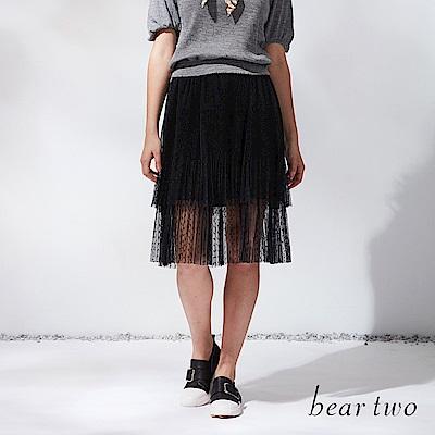 beartwo 圓點網紗多層次及膝裙(黑色)