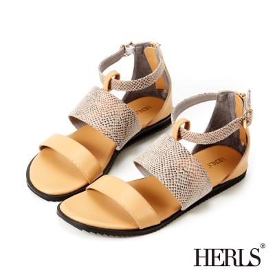 HERLS-仿蛇皮紋 寬版條帶羅馬涼鞋-駝色