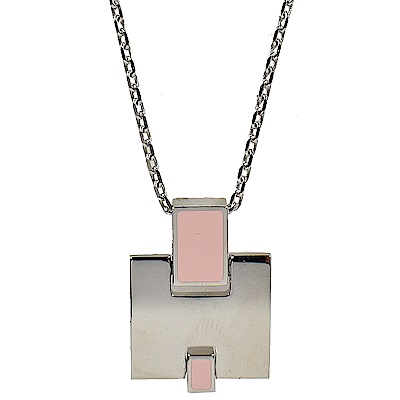 HERMES Eileen LOGO造型項鍊(粉紅/銀)