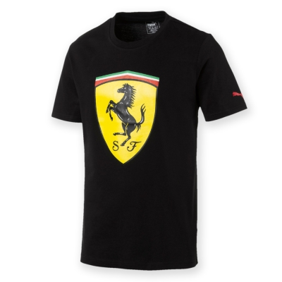 PUMA-男性法拉利車迷系列大盾牌短袖T恤-黑色-歐規