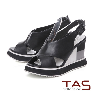 TAS 雙側鏤空寬繫帶配色厚底楔型涼鞋-個性黑