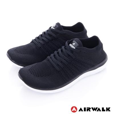 美國 AIRWALK透氣輕量編織慢跑鞋運動鞋-男款(黑色)