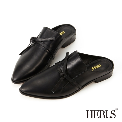 HERLS-俐落優雅 蝴蝶細帶穆勒鞋-黑色