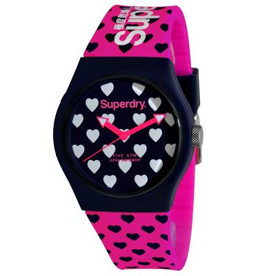 Superdry 極度乾燥 幾合潮流 矽膠 運動腕錶-桃紅帶/深藍面/37mm
