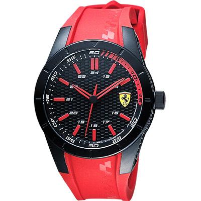 Scuderia Ferrari 法拉利 RedRev 競速手錶-黑x紅/ 44 mm