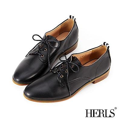 HERLS 內真皮 織帶素面德比牛津鞋-黑色