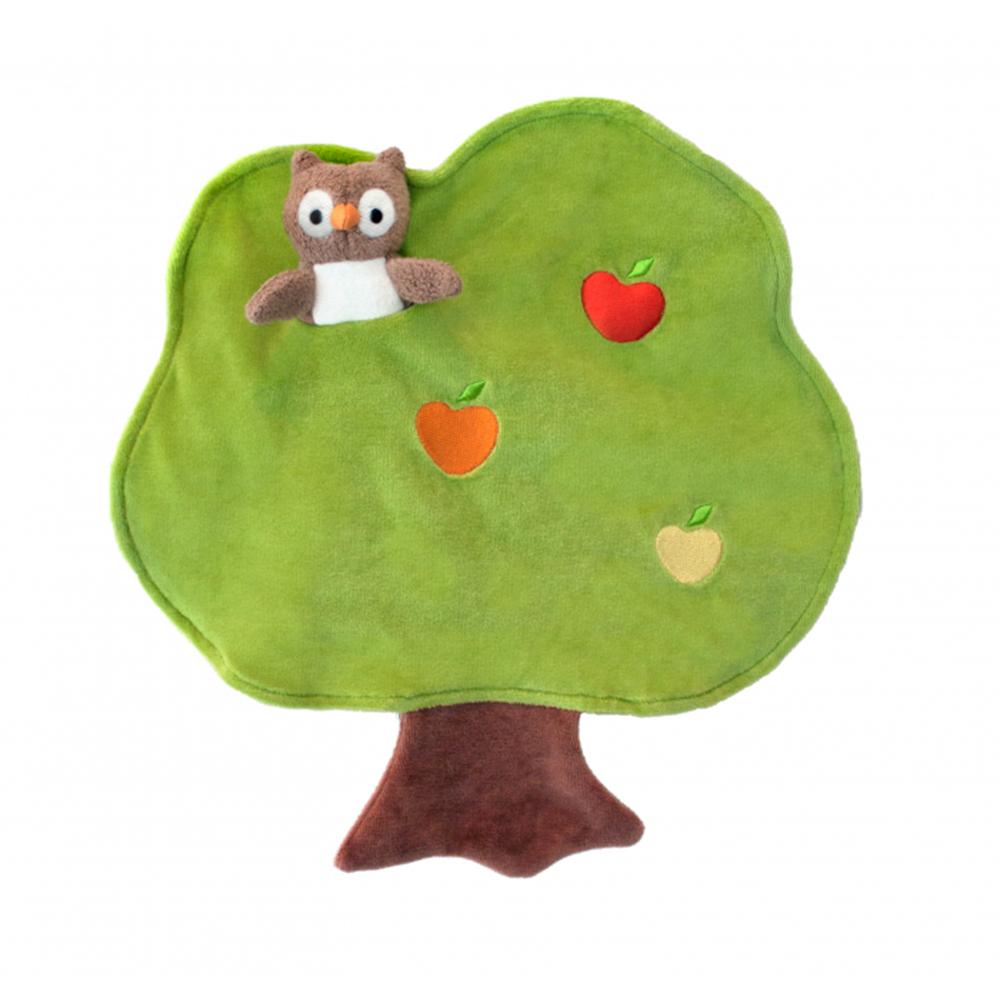 【美國 Apple Park】有機棉手指玩偶安撫巾 - 大樹貓頭鷹