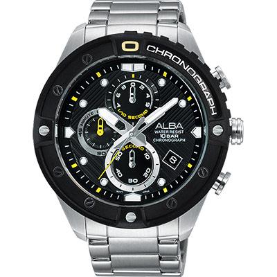 ALBA ACTIVE 活力運動時尚計時腕錶(AM3323X1)-黑/46mm
