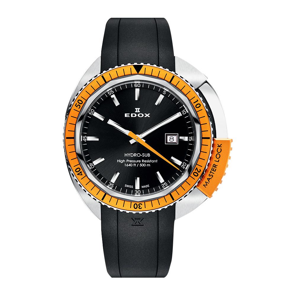 EDOX Hydro Sub 北極潛水500米石英腕錶-黑x橘/46mm