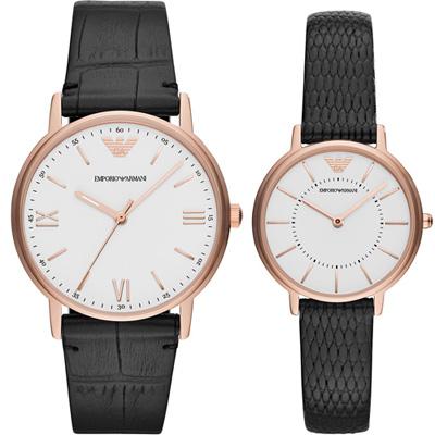 Armani  相遇時分時尚對錶(AR80015)皮/41+32mm