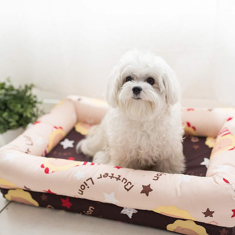 【奶油獅】台灣製造-保暖布套可拆洗-搖滾星星寵物記憶床墊-特大(25kg以上適用)卡其咖啡