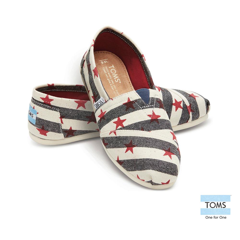 TOMS 經典條紋星星懶人鞋-女款(深藍)