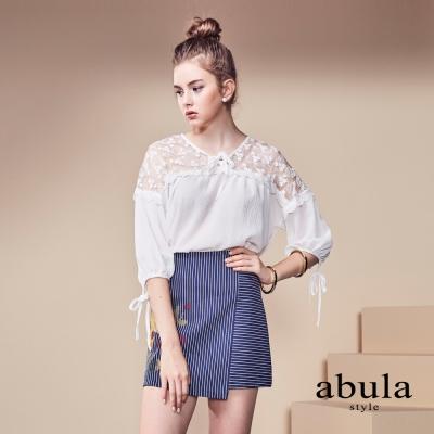 abula-style-短版中袖素面拚蕾絲襯衣