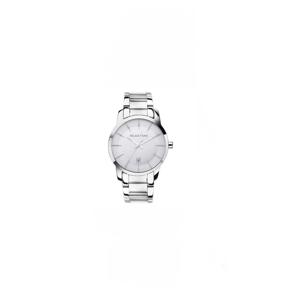 RELAX TIME 簡約新時尚系列腕錶-銀白/46mm