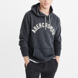 A&F 經典刺繡文字連帽T恤-深藍色 AF Abercrombie