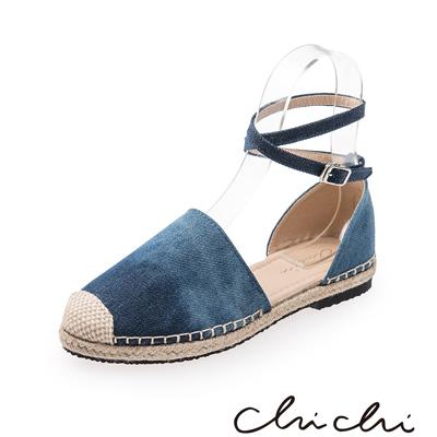 Chichi 繞踝扣環草編平底鞋*雪花藍