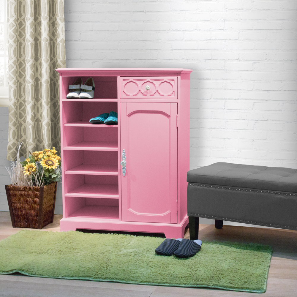 漢妮Hampton安琪拉一門一抽鞋櫃-粉紅色80x40x105cm