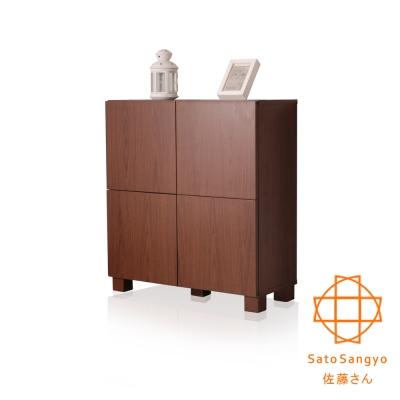 Sato-FREA川久四門收納櫃 (胡桃木色) W72×D30×H78cm
