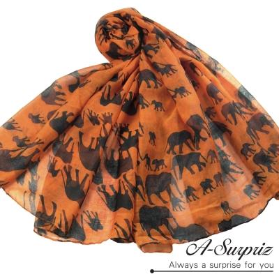 A-Surpriz 叢林象群家族巴黎紗圍巾(活力橘)