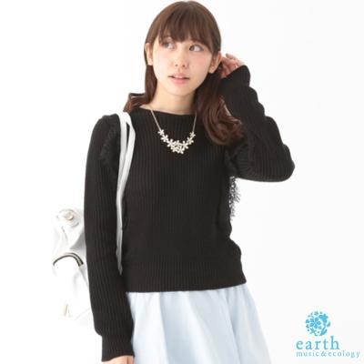 earth music&ecology 蕾絲荷葉拼接長袖上衣