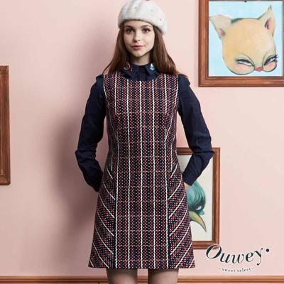 OUWEY歐薇-格紋波點修身洋裝
