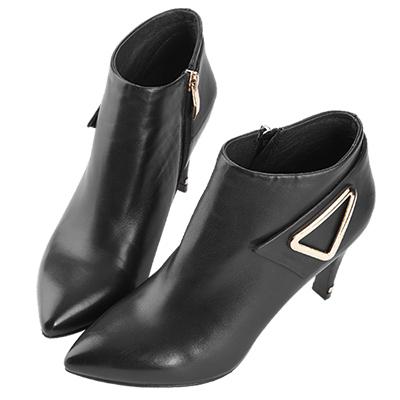 Robinlo Studio 摩登俐落高跟羊皮踝靴 黑