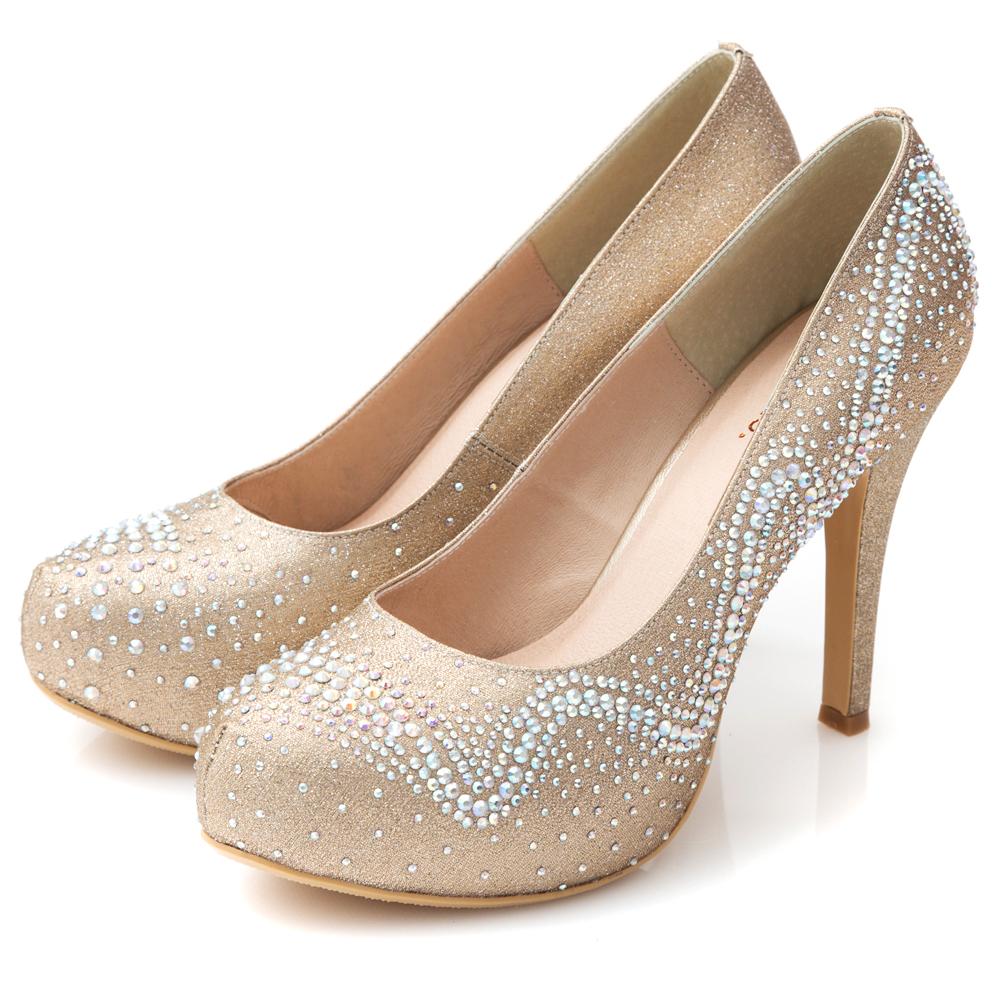 G.Ms. MIT花嫁系列-水鑽金蔥婚宴新娘高跟鞋-金色