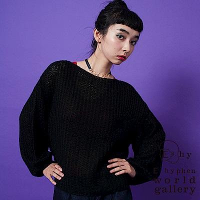 E hyphen 微透寬鬆針織包袖毛衣