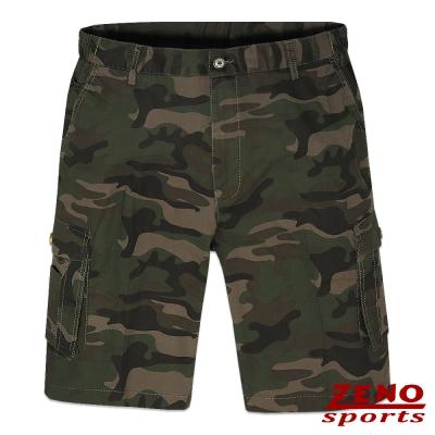 ZENO 彈力率性迷彩多袋短褲‧褐綠M~3L