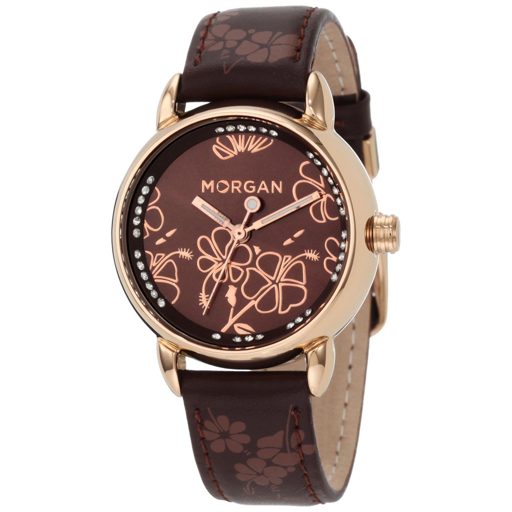 MORGAN 花樣晶鑽時尚腕錶-玫瑰框x咖啡32mm