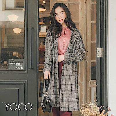 東京著衣-yoco英倫氣質格紋翻領雙排釦可調式袖口大衣-S.M.L