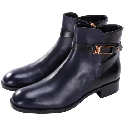 TOD'S 釦帶金屬環裝飾拉鍊短靴(藍x黑)