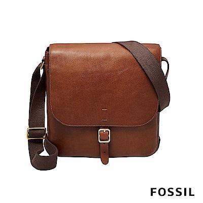FOSSIL BUCKNER 都會旅人真皮側背公事包-咖啡色