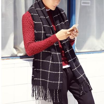 幸福揚邑 韓版冬季經典百搭情侶粗毛線格子加長披肩圍巾-黑