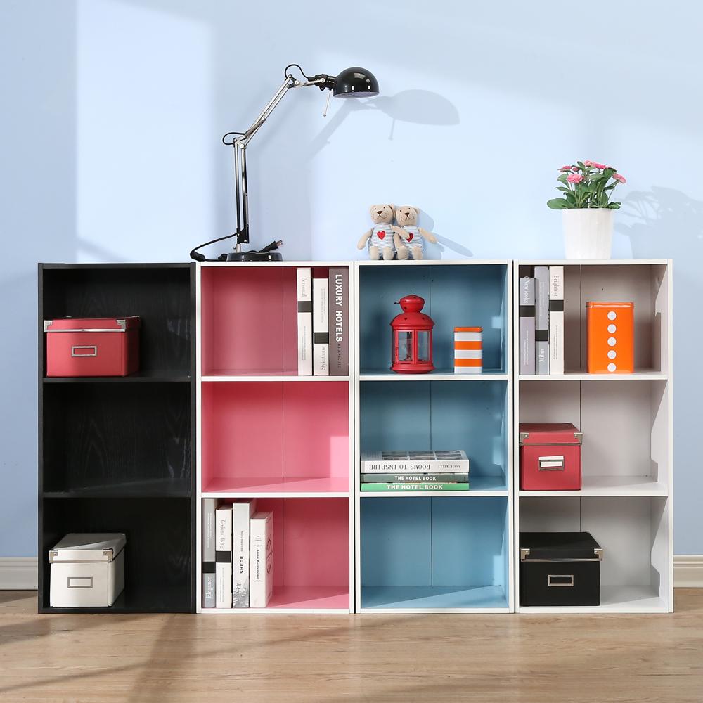 澄境 粉彩輕收納三格書櫃收納櫃(2入組)40.4x30x90-DIY