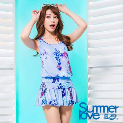 夏之戀SUMMERLOVE 比基尼泳裝 三件式泳衣 粉藍花朵